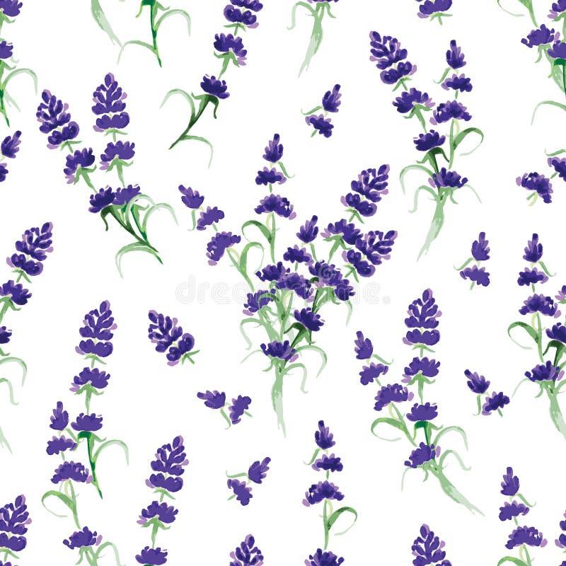 Naadloze vectordruk van de waterverf de violette lavendel vector illustratie
