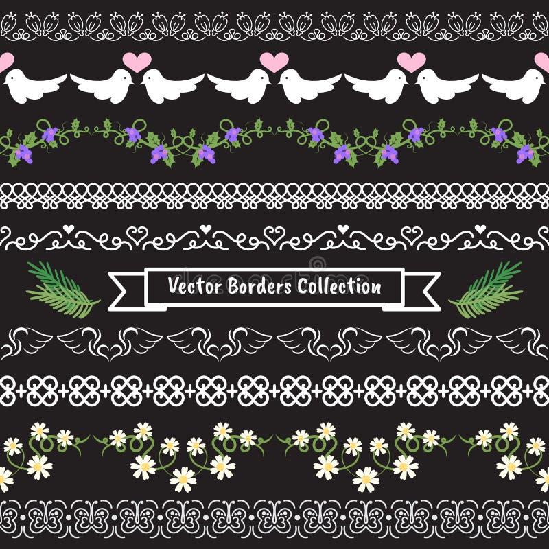 Naadloze vectorgrensvalentijnskaart en huwelijksinzameling vector illustratie