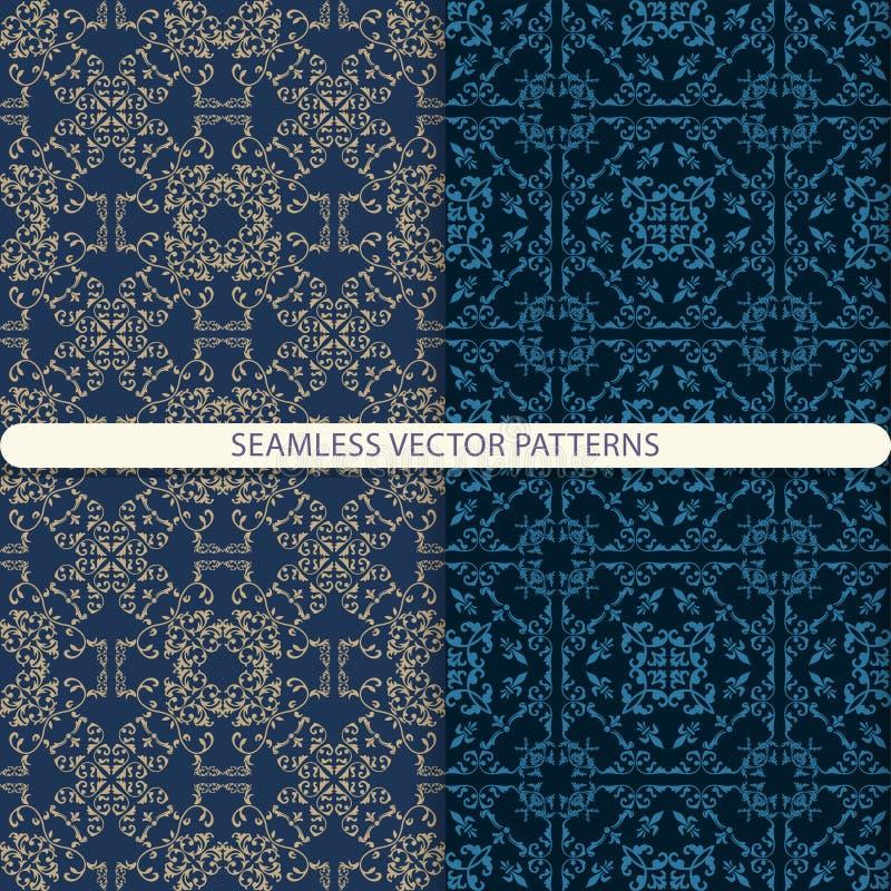 Naadloze vectorpatronen met beige en blauwe ornamentelementen op een donkerblauwe achtergrond Oosters, Arabisch, damastpatroon ge royalty-vrije illustratie