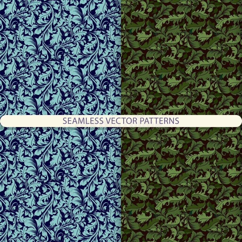 Naadloze vectorpatronen met elementen van bloemenornament Textuur met bloemenornamenten Druk voor textiel Het ontwerp van het pak royalty-vrije illustratie