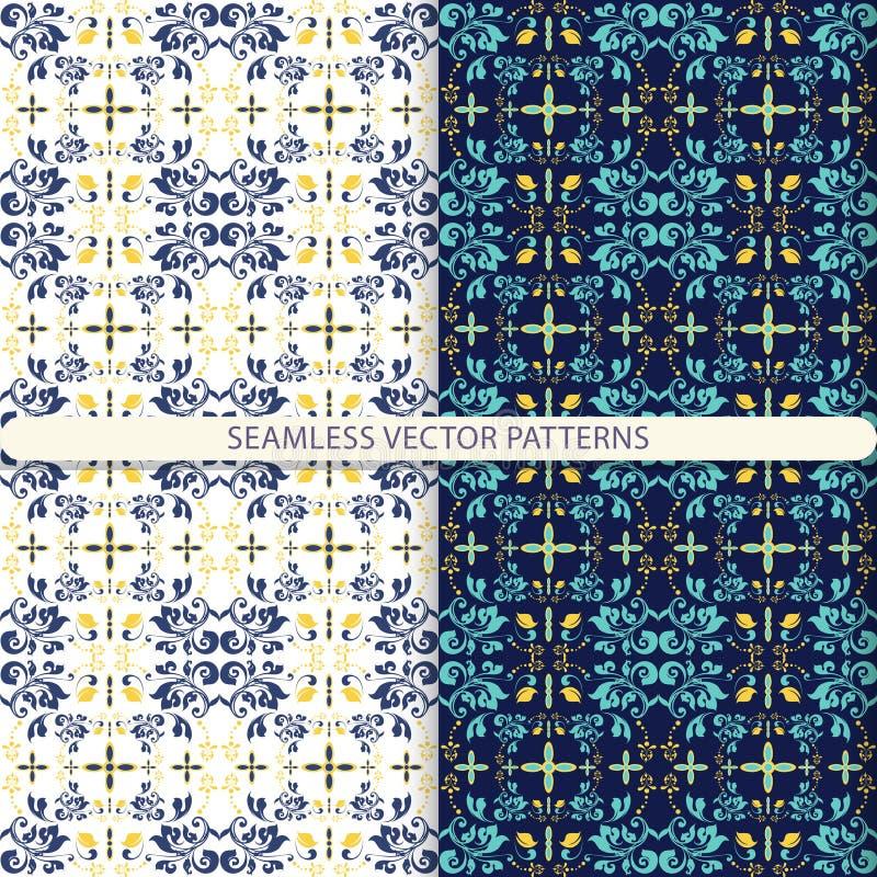 Naadloze vectorpatronen met ornamentelementen en botanische elementen Kinderen, keukentextiel, druk voor textiel, wallpape vector illustratie