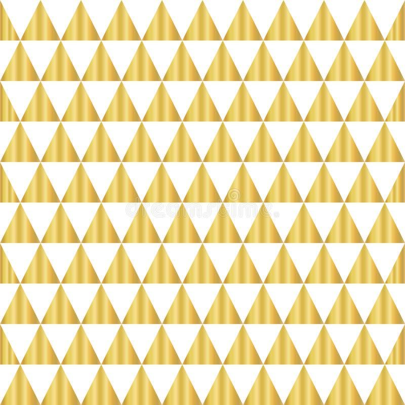 Naadloze vectorpatroon van de driehoeks het geometrische gouden folie Gouden glanzende driehoeksvormen op een witte achtergrond E royalty-vrije illustratie