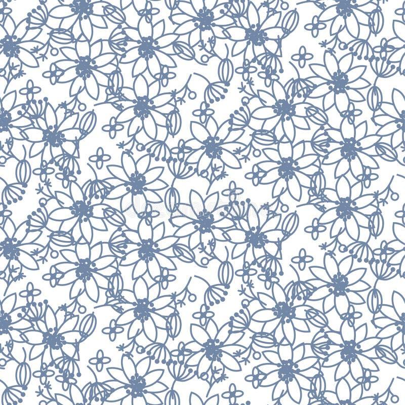 Naadloze vectorpatroon van prairie het bloemen blauwe lichte kleuren vector illustratie