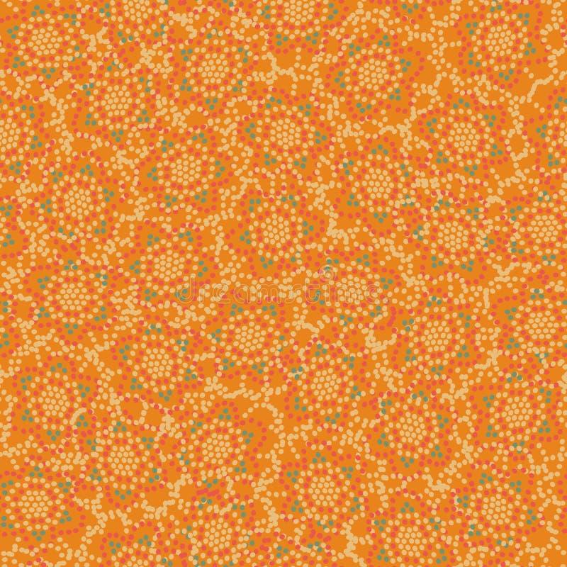 Naadloze vectorpatroonachtergrond met bloemenvormen die met punten worden gemaakt stock illustratie