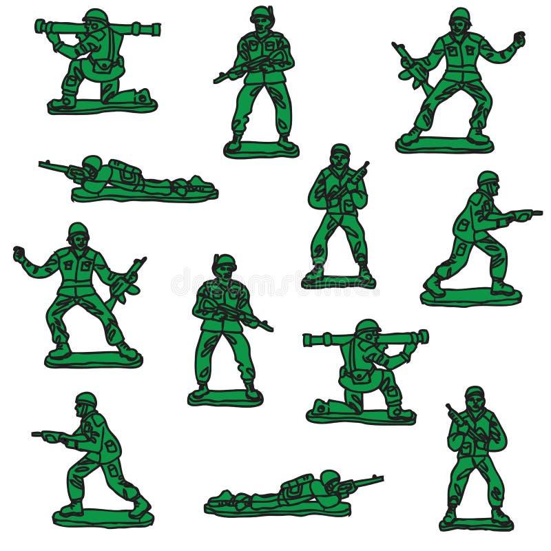 Naadloze vectorstuk speelgoed militairen royalty-vrije illustratie