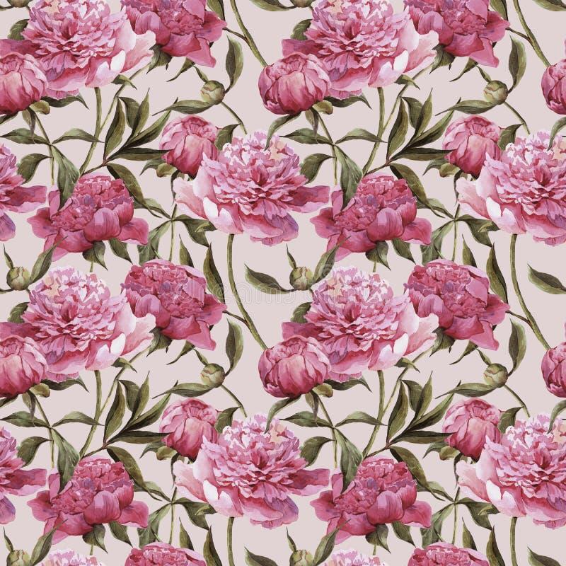 Naadloze waterverfachtergrond met roze pioenen stock illustratie