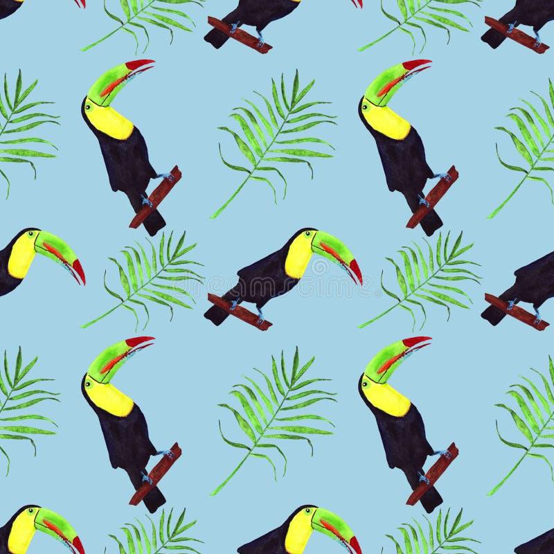 Naadloze waterverfillustratie van toekanvogel Tropische bladeren, dichte wildernis Patroon met tropisch zomermotief Palmbladen royalty-vrije illustratie