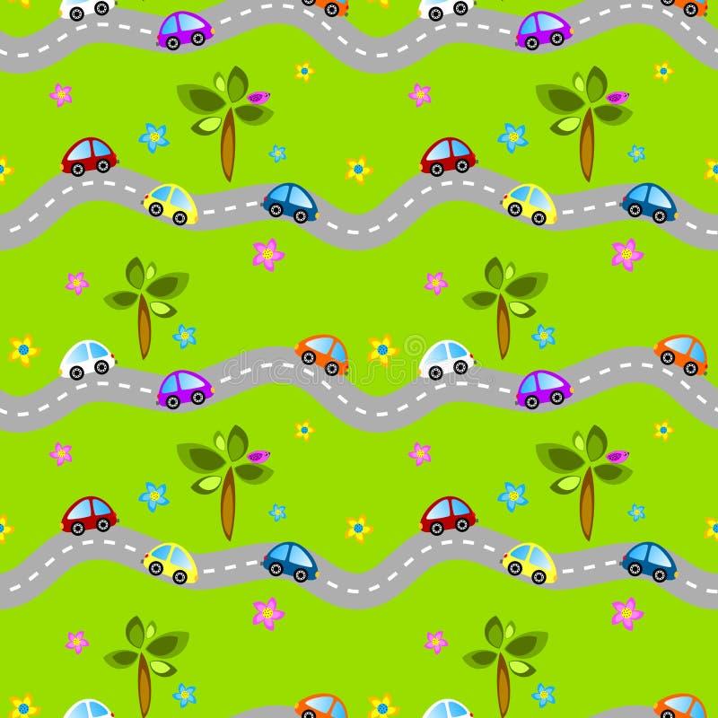 Naadloze wegen en auto's royalty-vrije illustratie