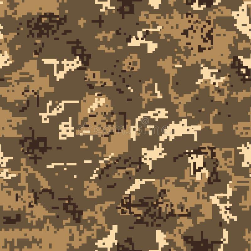 Naadloze woestijncamouflage van pixelpatroon royalty-vrije illustratie