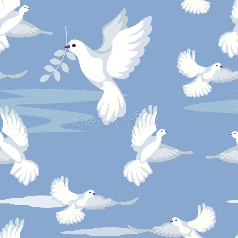 Naadloze zachte achtergrond De duif, vredesteken, draagt een twijg van olijf In minimalistische stijl Beeldverhaal vlakke vector stock illustratie