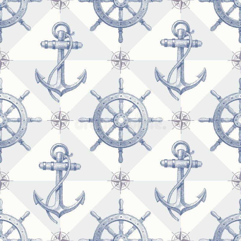 Naadloze zeevaartachtergrond met getrokken hand eleme royalty-vrije illustratie