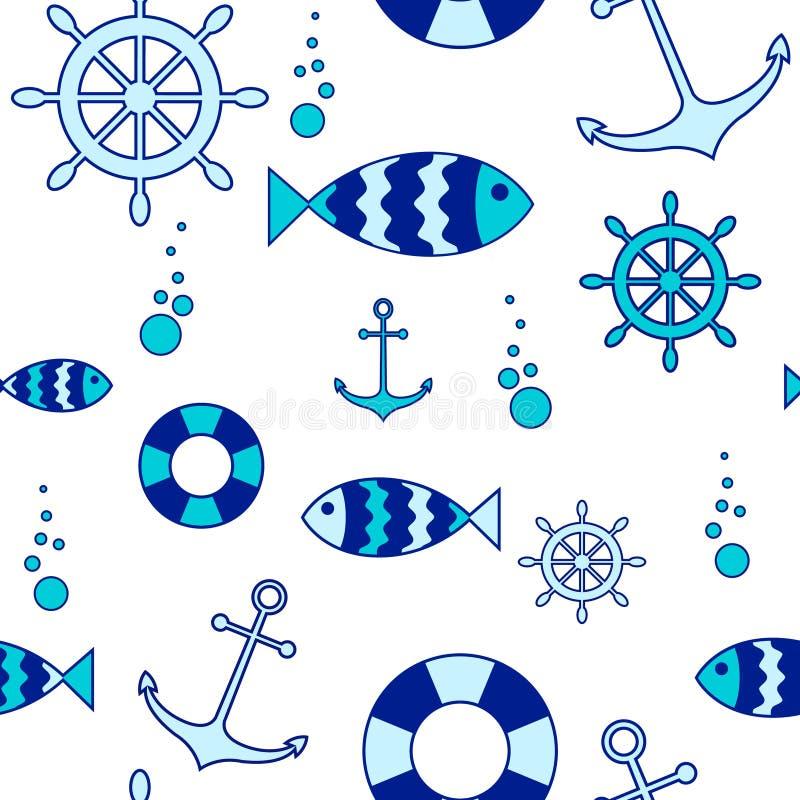 Naadloze zeevaartelementenachtergrond vector illustratie