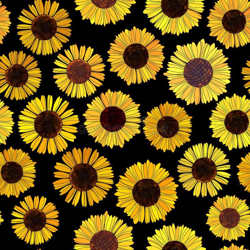 Naadloze zonnebloemen vectorachtergrond. stock illustratie