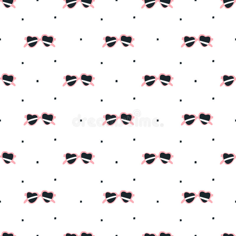 Naadloze zonnebril met het patroon van de hartvorm royalty-vrije illustratie