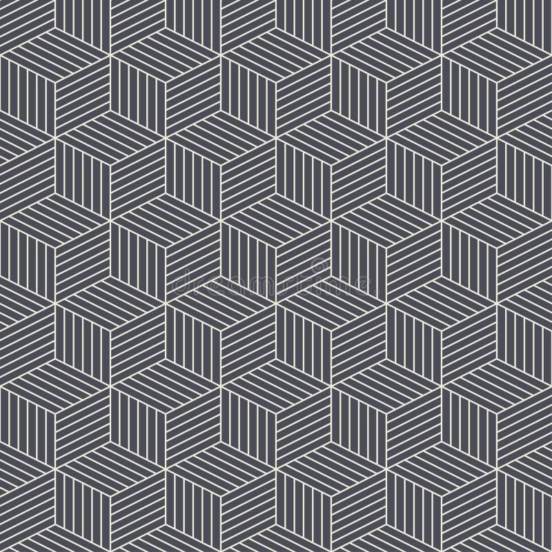 Naadloze zwart-witte abstracte patroon isometrische kubussen Uitstekende en retro 3d minimale geometrische vormachtergrond Eps 10 royalty-vrije illustratie