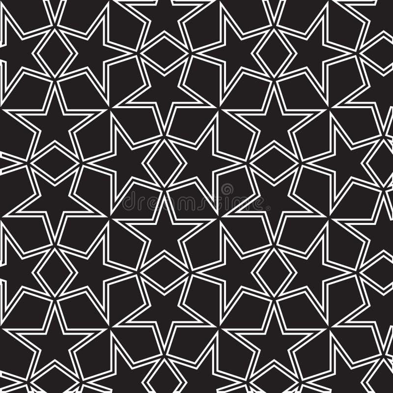 Naadloze zwart-witte achtergrond met sterren stock illustratie