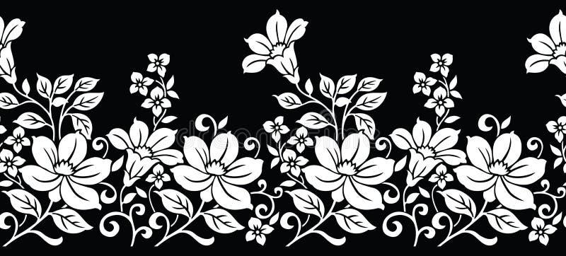 Naadloze zwart-witte bloemengrens vector illustratie