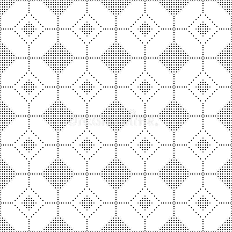 Naadloze Zwart-witte Cirkel Dots Abstract Geometric Pattern vector illustratie