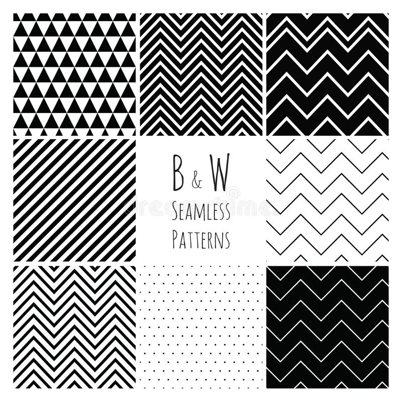 Naadloze Zwart-witte geometrische reeks als achtergrond. royalty-vrije illustratie