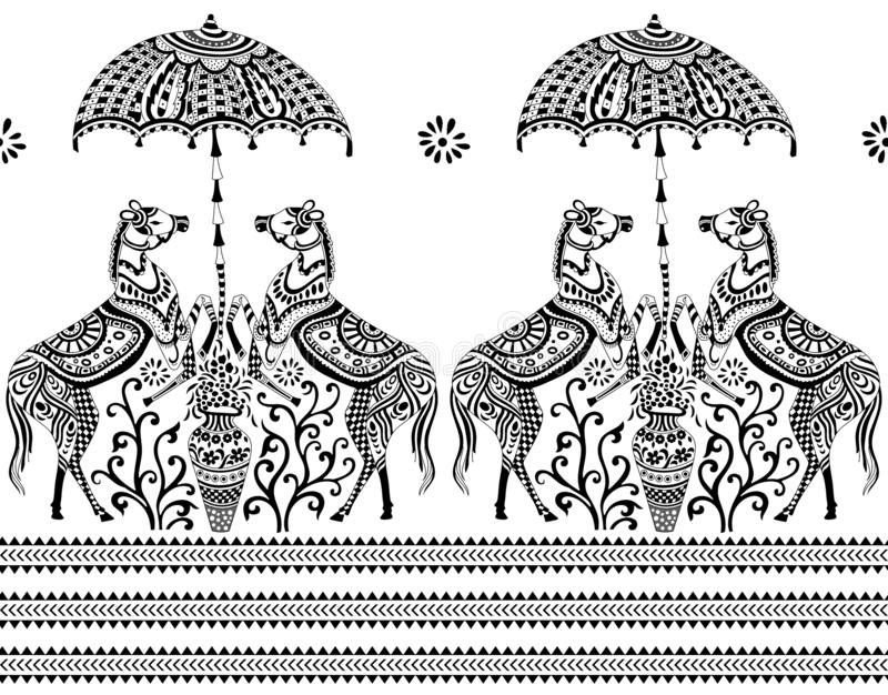 Naadloze zwart-witte grens stock illustratie