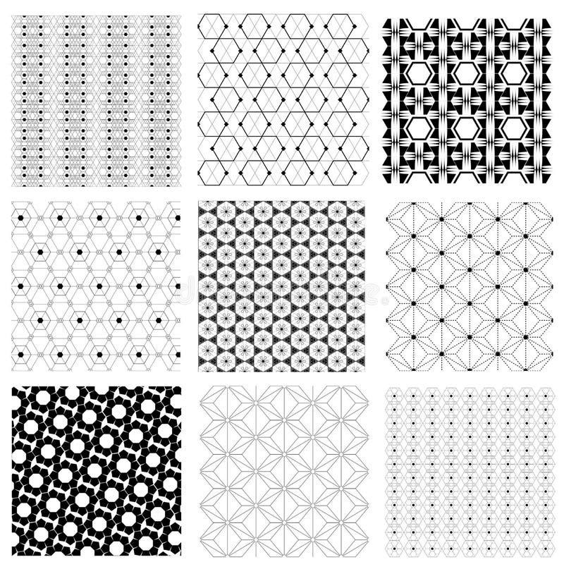 Naadloze zwart-witte Japanse retro hexagon patroon vectorreeks royalty-vrije stock afbeelding