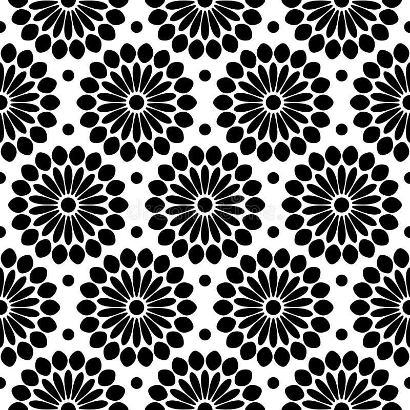 Naadloze Zwart-witte Patroon Grote Abstracte Bloemen royalty-vrije illustratie