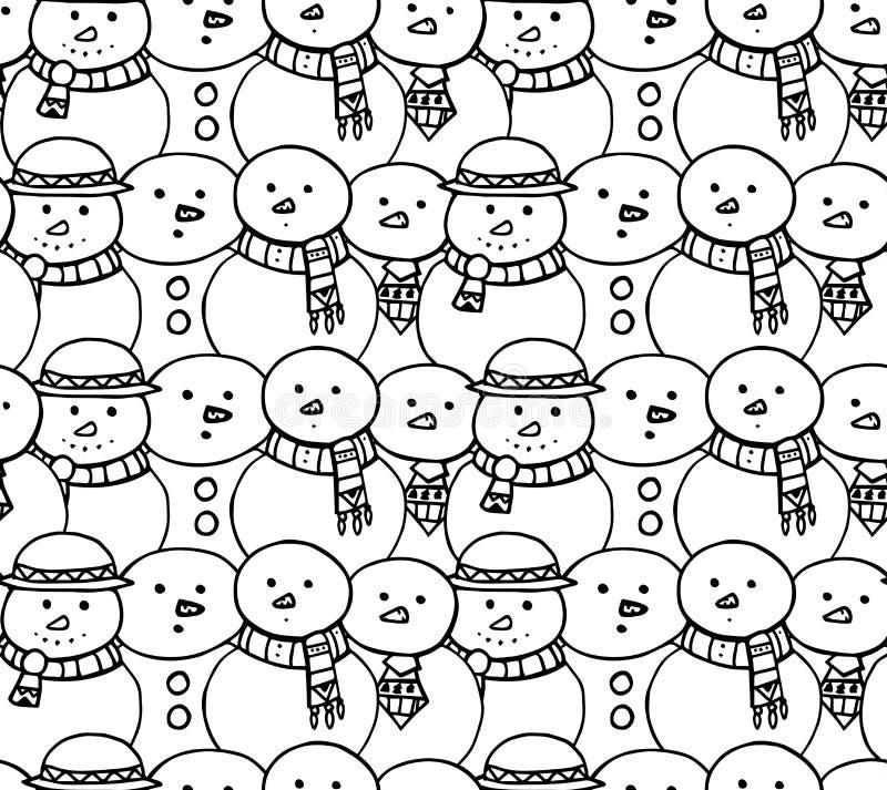 Naadloze zwart-witte textuur met krabbelsneeuwman royalty-vrije illustratie