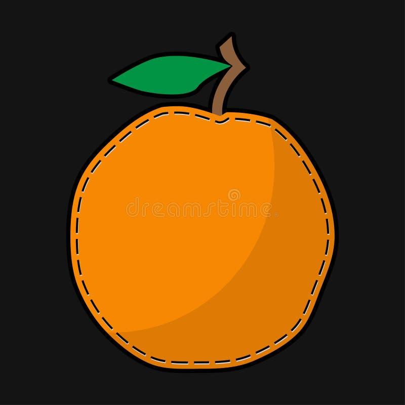 Naadsinaasappel met schaduw vector illustratie