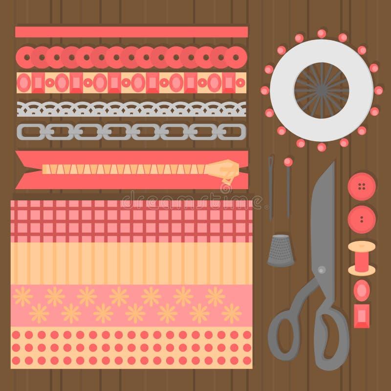 Naaiend workshopmateriaal Vlakke het ontwerpelementen van de kleermakerswinkel Makende de hulpmiddelenpictogrammen van de de indu stock illustratie