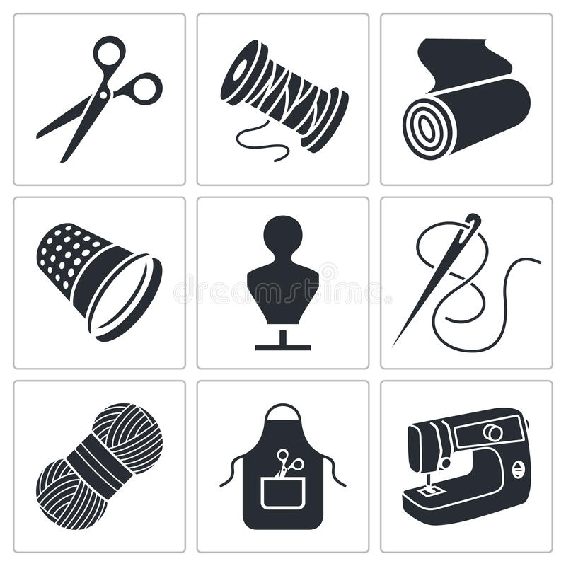Naaiende geplaatste kledingindustriepictogrammen stock illustratie