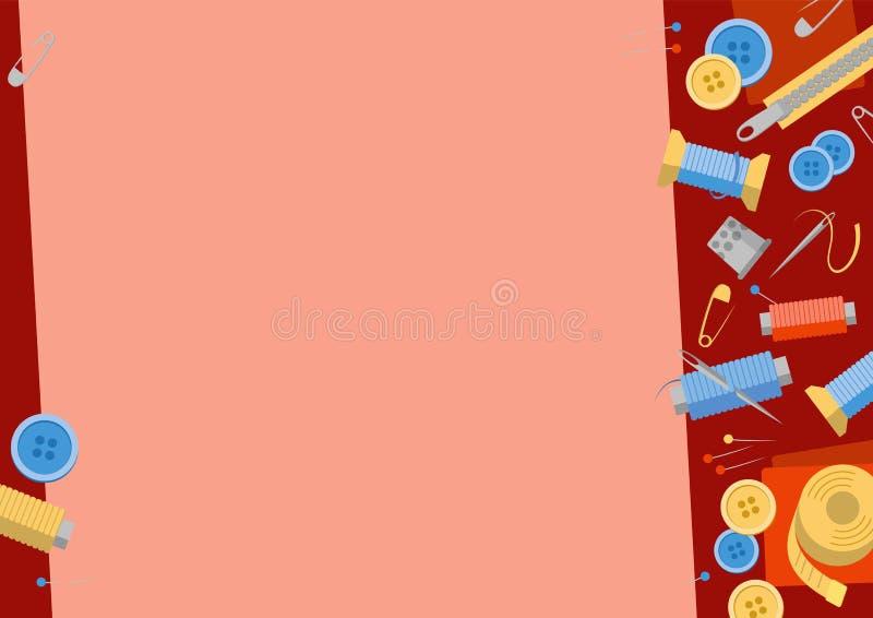 Naaiende materiaalachtergrond met lege plaats voor tekst vector illustratie