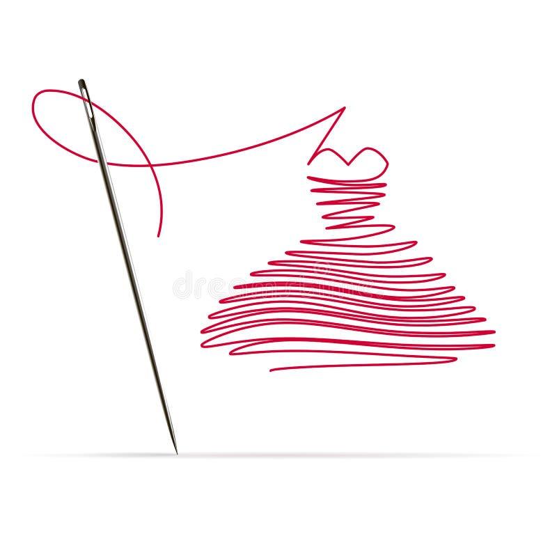 Naaiende Naald met een Rode Draad in de vorm van een Kleding vector illustratie