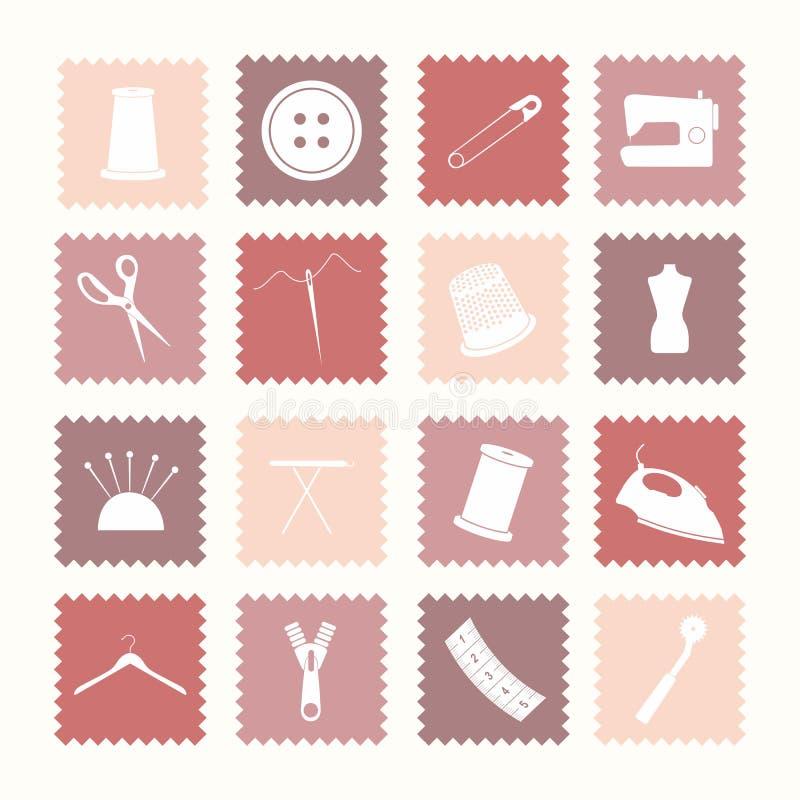 Naaiende pictogrammen stock foto