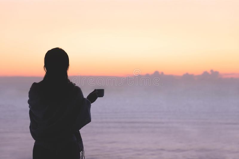 Naakt mooi wijfje met nat die haar in een deken met kop die van koffie wordt verpakt op het glasbalkon zich vroege ochtend bij su royalty-vrije stock foto's