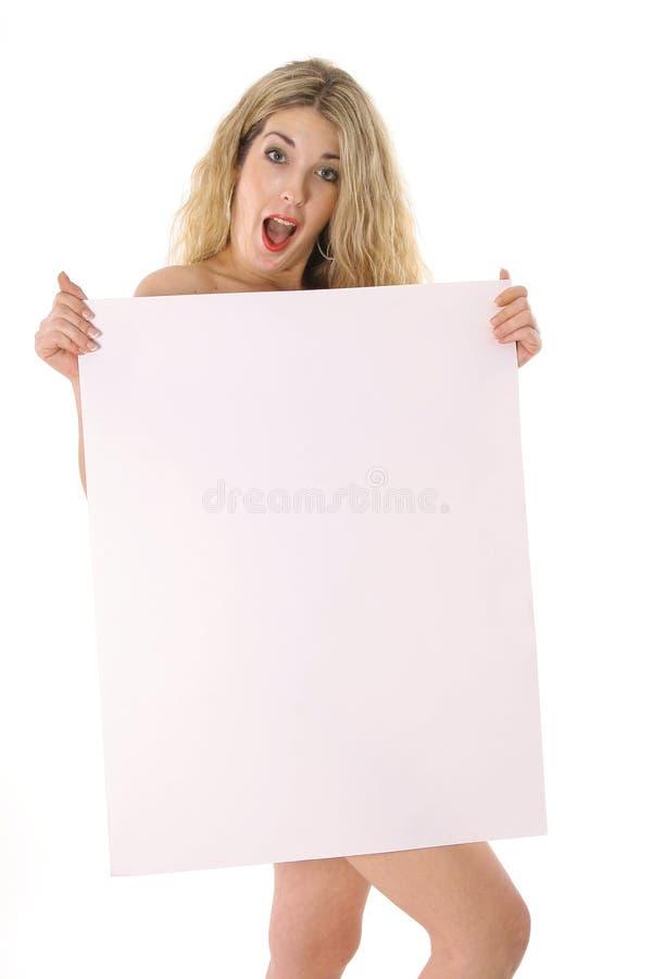 Naakte blonde verrassing stock foto's