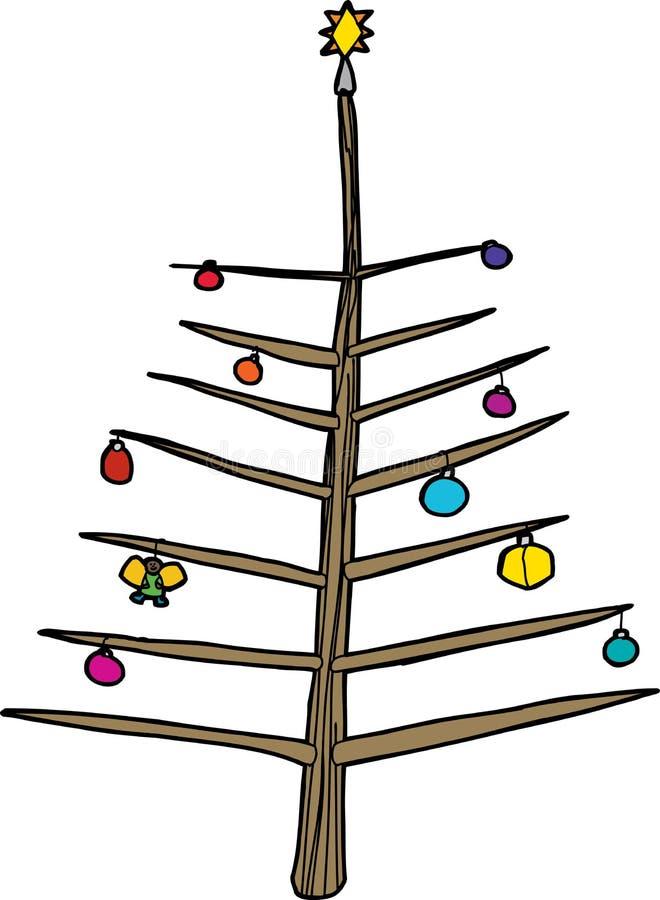 Naakte Boom met Ornamenten stock illustratie