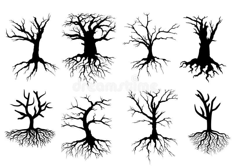 Naakte boomsilhouetten met wortels stock illustratie