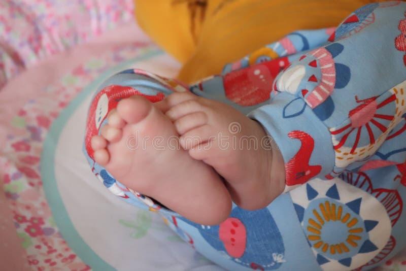 Naakte leuke zacht en snuggley van babyvoeten royalty-vrije stock afbeelding