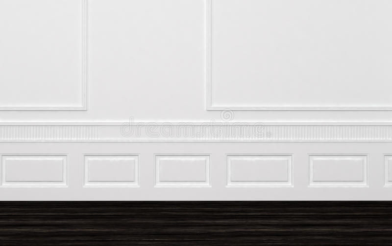 Naakte niet gemeubileerde ruimte met witte met panelen beklede muren stock illustratie