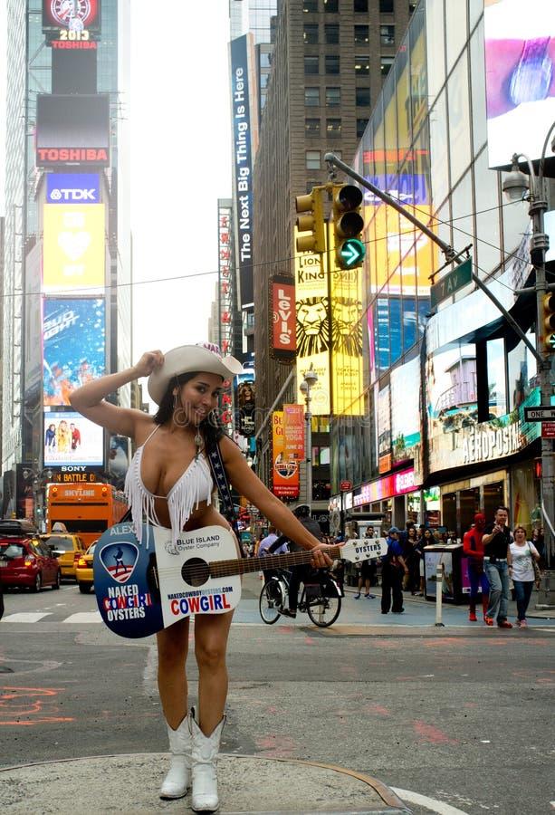 Naakte Oesterveedrijfster in Times Square royalty-vrije stock afbeeldingen