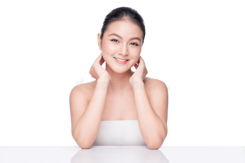 Naakte samenstelling Beauty Spa Aziatische Vrouw met perfect royalty-vrije stock afbeeldingen