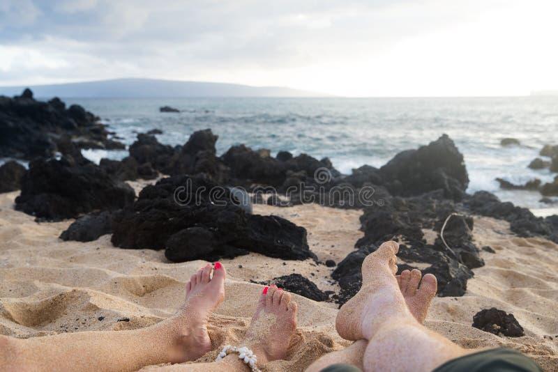Naakte voeten bij het Strand stock foto's