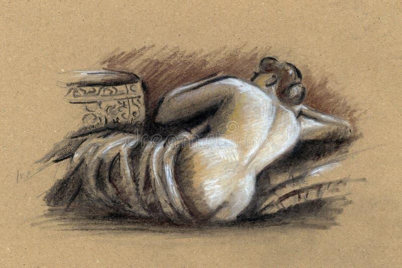 Naakte vrouw Tekening vector illustratie
