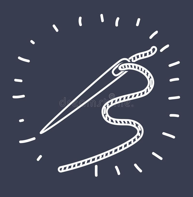Naald met geïsoleerde draad vector illustratie