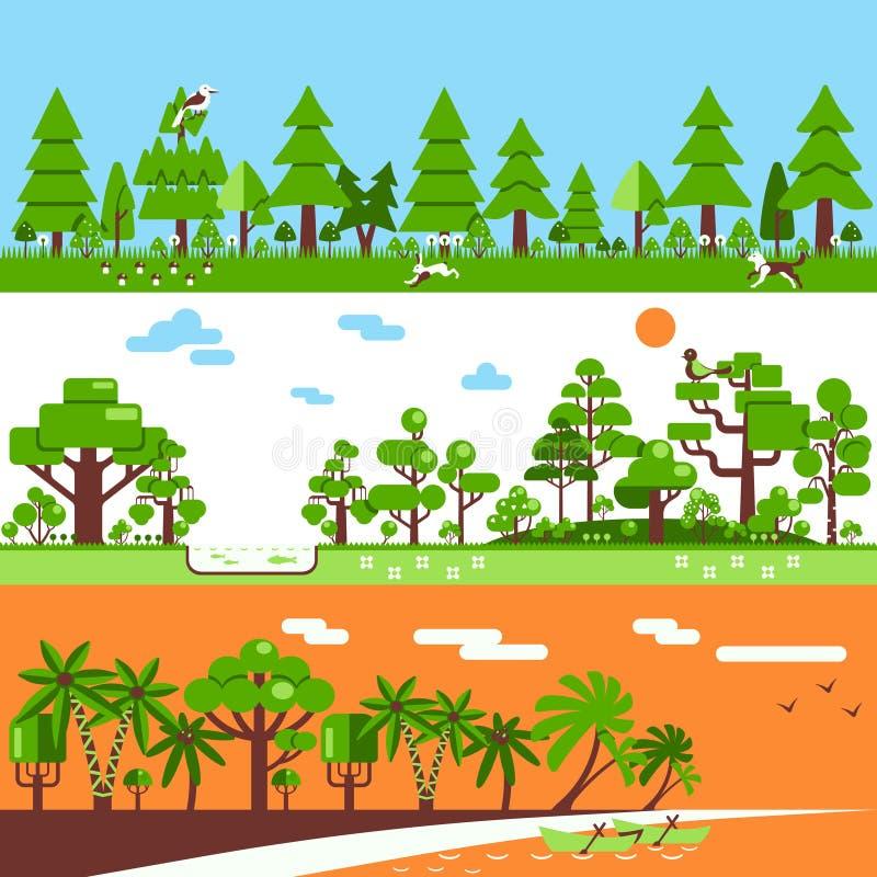 Naald Vergankelijk Tropisch Forest Banners stock illustratie