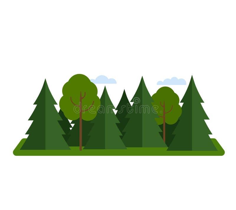 Naalddiebos met vergankelijk geïsoleerde bos vlakke vectorillustratie wordt gemengd royalty-vrije illustratie