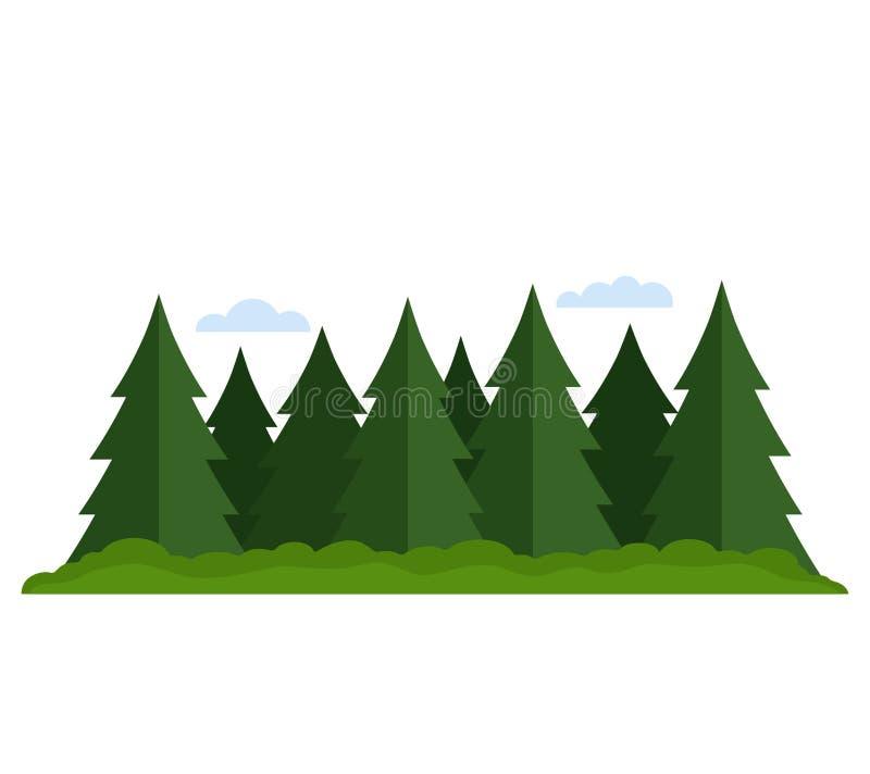 Naalddiebos met vergankelijk ge?soleerde bos vlakke vectorillustratie wordt gemengd royalty-vrije illustratie
