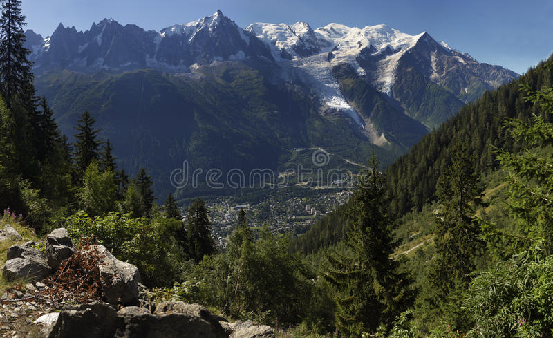 Naalden Mont Blanc en Chamonix royalty-vrije stock afbeeldingen