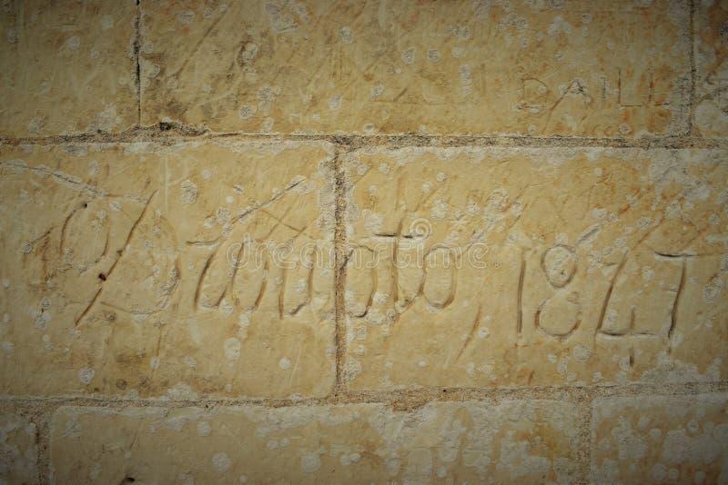 Naam in muren van Chambord Chateau, de Loire-Gebied wordt gegraveerd dat royalty-vrije stock afbeelding