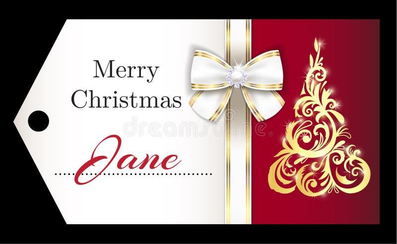 Naamplaatje van luxe het rode Kerstmis met gouden ornament royalty-vrije illustratie